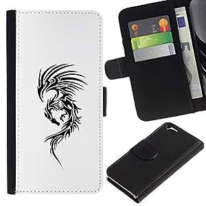 Be Good Phone Accessory // Caso del tirón Billetera de Cuero Titular de la tarjeta Carcasa Funda de Protección para Apple Iphone 6 4.7 // dragon tribal tattoo ink black white