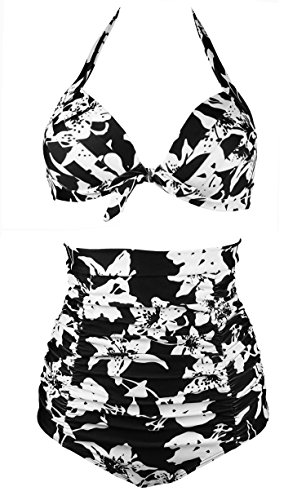 Cocoship Black & White Allover Print Halter High Waisted Two Piece Bikini Gorgeously dressed Vintage Bathing Suit XXL(FBA)