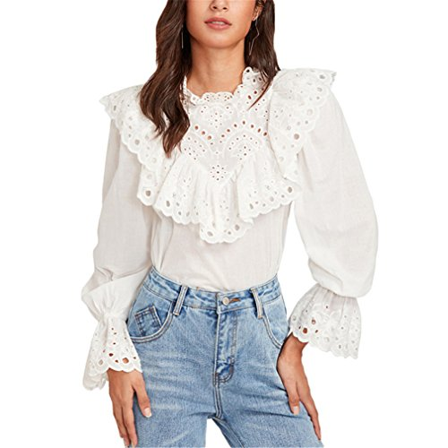 BBBai Eyelet Embroidered Ruffle and Bell Cuff Blouse Blouses Autumn Women's Long Sleeve (Embroidered Eyelet Skirt)