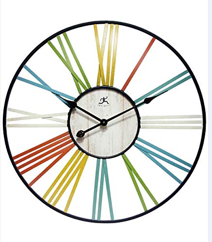 (Infinity Instruments Wagon Wheel Indoor Wall Clock, Multi-Color)