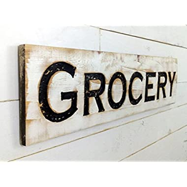 Grocery Sign - 40 x10  Carved in a Cypress Board Rustic Distressed Shop Advertisement Farmhouse Wooden Fixer Upper Style