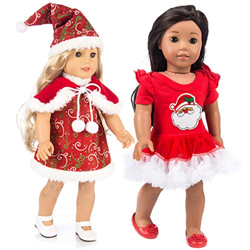 QiBao Baby Girl Dolls Clothes,Christmas Style Dress,4PCS(Hat,Scarf,Dress + Christmas Tree Tutu Skirt ),Winter Holiday Season Dress for 18 inches American Girls Doll (Color 1)