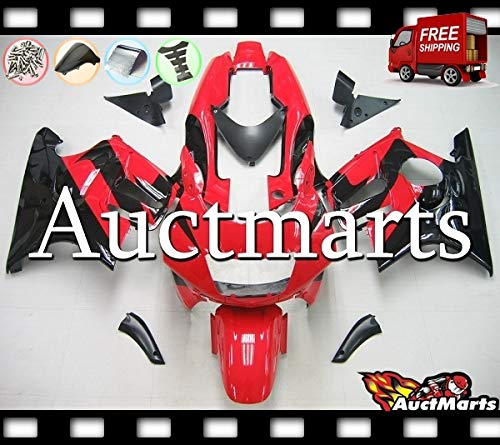 Auctmarts Injection Fairing Kit ABS Plastics Bodywork with FREE Bolt Kit for Honda CBR600F3 CBR 600 F3 1995 1996 1997 1998 Red Black (P/N:1p7)
