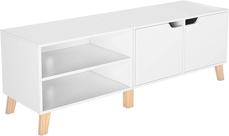 Homfa Meuble Tv Table De Salon Scandinave Table Basse Bois Pour Bureau Tv 140x48x40cm Blanc