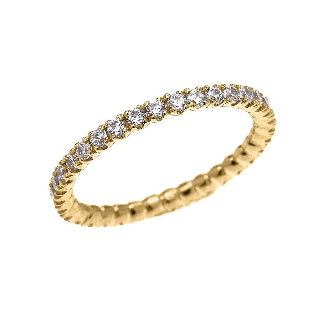10k Yellow Gold Dainty 1.5 Carat Cubic Zirconia Wedding Eternity Band (Size 6.5)