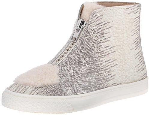 LOEFFLER RANDALL Women's Devin Embossed Lizard and Nubuck Fashion Sneaker, Cream/Bone, 11 M US