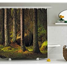 Ambesonne Magic Home Decor Collection, Deep Dark in the Enchanted Forest with Magical Trees in Evening Light Mystical Theme, Polyester Fabric Bathroom Shower Curtain, 75 Inches Long, Green Brown