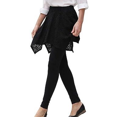 Polainas para mujer, falda creativa negra elegante, leggings de ...