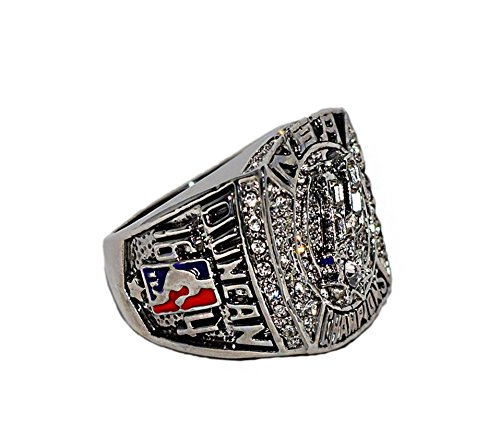 SAN ANTONIO SPURS (Tim Duncan) 2007 NBA FINALS WORLD CHAMPIONS Rare & Collectible High Quality Replica NBA Basketball Silver Championship Ring with Cherrywood Display Box