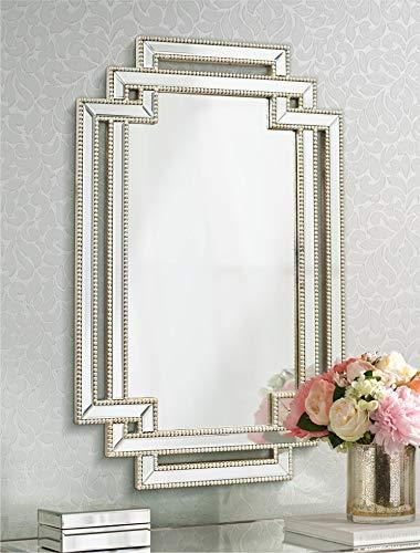 Euro Design Contemporary Mirror - Possini Euro Design Erte Openwork Silver Beaded 27