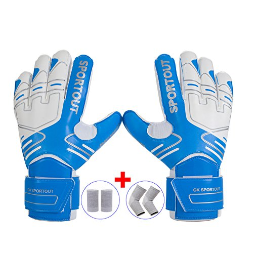 Youth&Adult Goalie Goalkeeper Gloves,Strong Grip for The Toughest Saves, With Finger Spines to Give Splendid Protection to Prevent Injuries,Free 1 Pair of Wristband&Elbow Pads,3 Colors (Blue, 7)