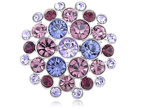 [Alilang Swarovski Elements Amethyst Crystals Round Disco Orb Fashion Pin Brooch] (70s Jewellery Disco)