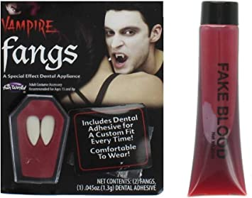 White Fangs Vampire Dracula Caps Stick On Teeth for Halloween Party Fancy Dress