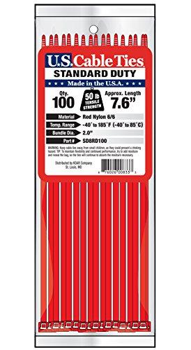 [해외]미국 케이블 타이 SD8RD100 8- 인치 표준 의무 케이블 타이, 빨간색, 100 팩/US Cable Ties SD8RD100 8-Inch Standard Duty Cable Ties, Red, 100-Pack