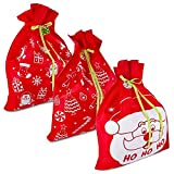 3 Giant Christmas Gift Bags 36″ x 44″ Reusable Made of Durable Fabric with Ribbon and Gift Tag for Holiday Wrapping Extra Large Jumbo Huge Oversized Toys Gift Bags by Gift Boutique