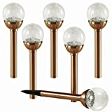 NEW 2017 SET OF 6 Crackle Glass Globe Color-Changing LED & White LED Copper Solar Path Lights by SOLAscape