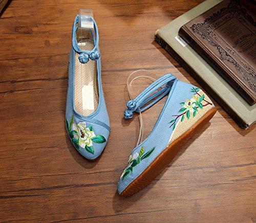 WXT Zapatos bordados finos, lino, lenguado del tendón, estilo étnico, zapatos femeninos, manera, cómodo, zapatos de lona aumentados blue green flowers