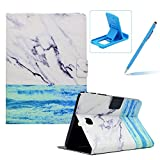 Wallet Folio Case for Samsung Galaxy Tab A 8.0 T350,Bookstyle Flip Pu Leather Case for Samsung Galaxy Tab A 8.0 T350,Herzzer Stylish Classic [Ocean Marble Print] Stand Magnetic Smart Leather Case with Soft Inner for Samsung Galaxy Tab A 8.0 T350