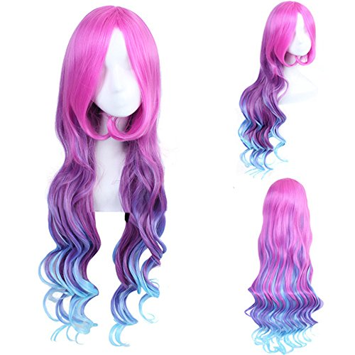AOGSY Wigs Long Curly LOL Arcade Miss Cosplay Anime Red And Blue Hair 39.5