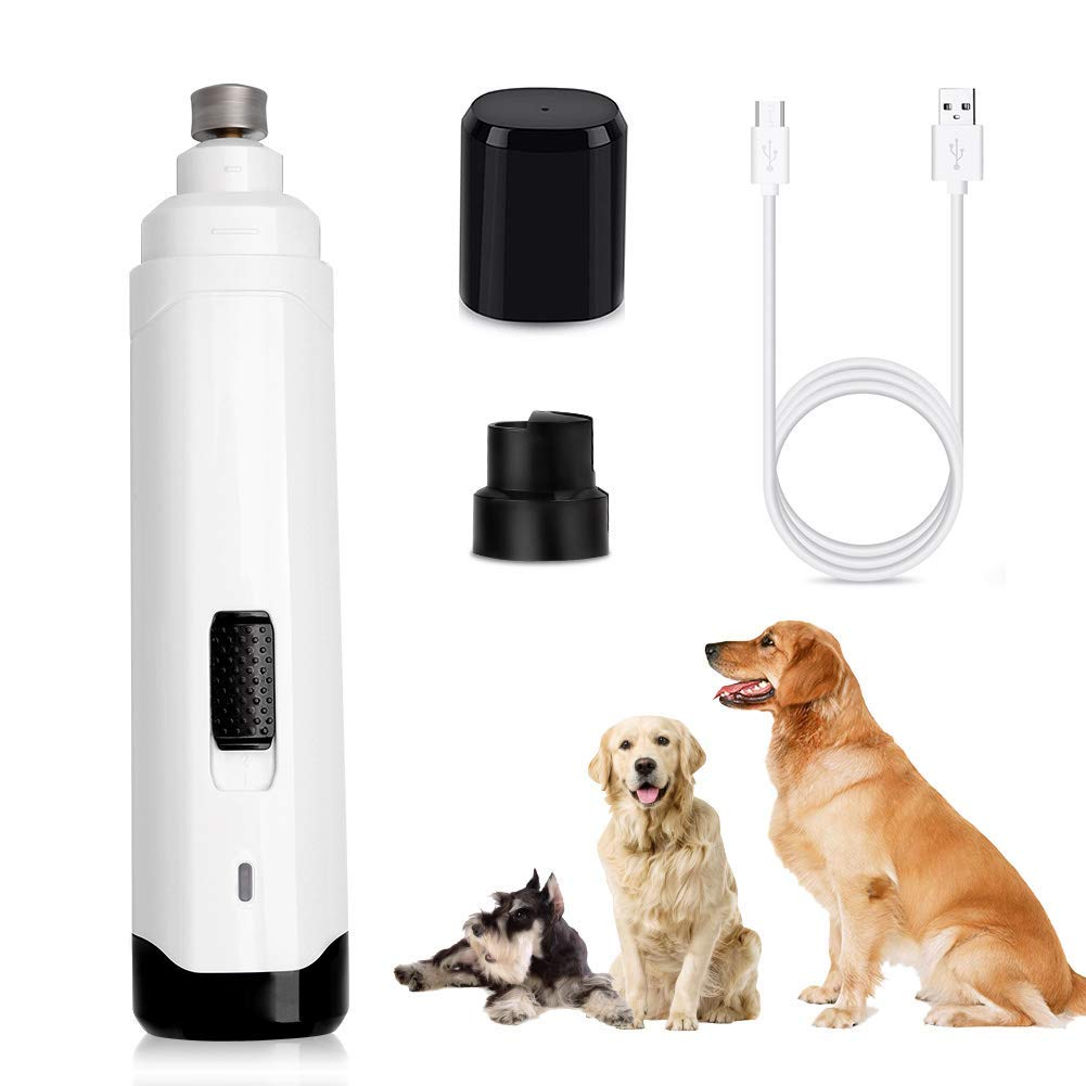 Electric Pet Nail File, Rechargeable and Portable Nails Trimmer Clipper, Low Noise 2 Speeds Fast Grinding for Large Medium Small Dogs Claw Care