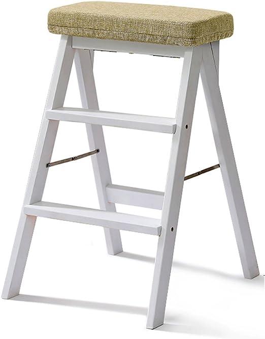 escalera de tijera plegable / taburetes plegables taburete de madera maciza taburete de peldaño taburete plegable multifuncional taburete / taburete alto de cocina plegable fácil de llevar escalera de 3 capas: Amazon.es: Hogar