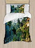 Ambesonne Balinese Duvet Cover Set Twin Size, Terrace Rice Fields Palm Trees Traditional Farmhouse Morning Sunrise Bali Indonesia, Decorative 2 Piece Bedding Set with 1 Pillow Sham, Green
