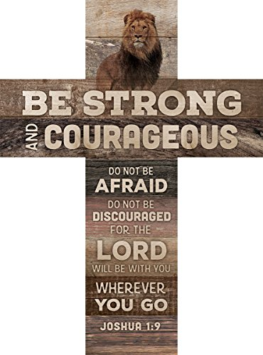 Inspirational Cross (Be Strong and Courageous Joshua 1:9 African Lion 14 x 10 Wood Wall Art Cross Plaque)