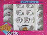 BARBIE 16 Pieces CHINA DINNER SET w Tea Pot, Tea Cups & Saucers, & Plates (1989)
