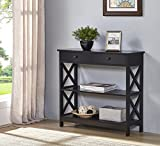 Black Finish 3-tier Console Sofa Entry Table with Shelf / Two Drawers