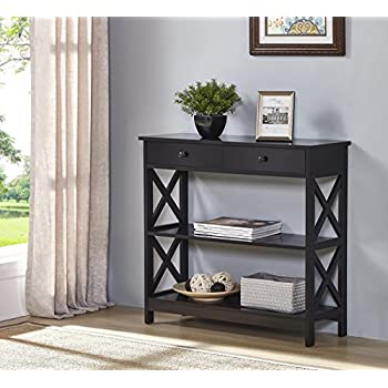Merveilleux Black Finish 3 Tier Console Sofa Entry Table With Shelf / Two Drawers