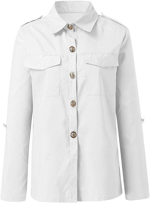 WINLISTING Mujer Elegantes Blusas, Otoño e Invierno Color sólido Botón Manga Larga Camisas Casual Corte Ajustado Camiseta Top: Amazon.es: Ropa y accesorios
