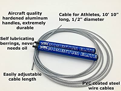 Momentum Elite Speed Jump Rope for Workout Exercise Training Fitness - Easily adjustable, 10 Foot Cable for Customized Fit, Smooth spinning, Faster, Anti-friction Nylon Bearings, Made in the USA