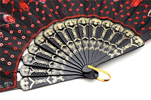 OMyTea Black Peacock Folding Hand Held Fans Bulk Pack Set for Women - Spanish/Chinese/Japanese Vintage Retro Fabric Fans for Wedding, Church, Party, Gifts (Mixed Colors, 10pcs) by OMyTea (Image #3)