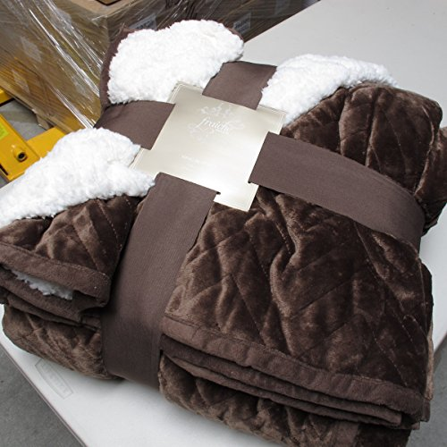 Sherpa Flannel Plush Quilted Blanket -Luxurious Large Warm Thick(King, ()
