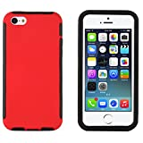 iPhone 5C Case - Heavy Duty Box Cover for iPhone 5C, Integrated Screen Protector Included (Red)