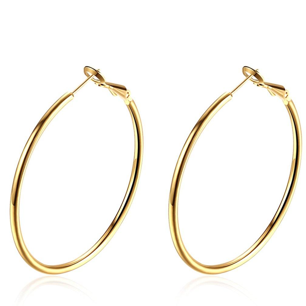 Women's Antique 8K Gold Plated Hypoallergenic Pierced Hoop Earrings 4.2CM Diameter Yellow
