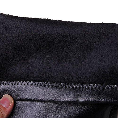 Elástica DecoStain Puntera Blanco Cuadrada la Alto Tacón Piel Sobre Vestir Rodilla Plataforma Botas de de para Mujer rpqrO