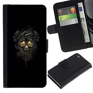 Stuss Case / Funda Carcasa PU de Cuero - Negro Oscuro Skulls - Apple Iphone 4 / 4S