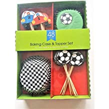 Soccer/Car Racing Cupcake Wrappers and Toppers - Set of 24
