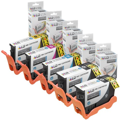 Compatible Lexmark 150XL Set of 5 HY Inkjet Cartridges: 2 Bl
