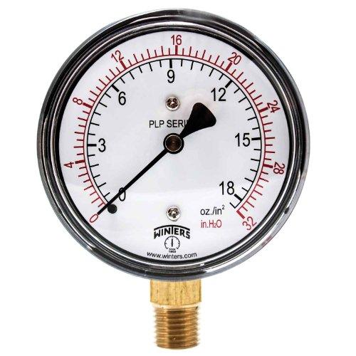 Winters PLP Series Steel Dual Scale Low Pressure Gauge with Brass Internals, 0-32