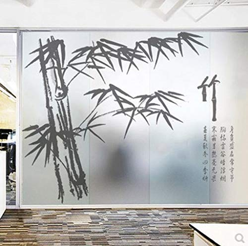 MOSU Bamboo Window Film, Frosted Film Static Cling Non-Adhesive Light Transmission Opaque Ink Decoration Glass Film Heat Control 95% Anti UV99%-Section C-70x120Cm