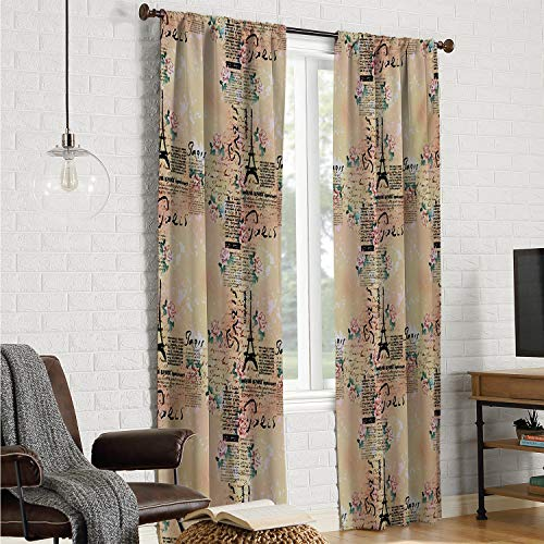 Teenagers Bedroom Curtains for bedroo Modern,French Paris Themed Lettering with Floral Leaves Details Artwork,Blue Black and Pale Pink W108 x L108 Inch (Teenagers Paris Bedroom For Themed)