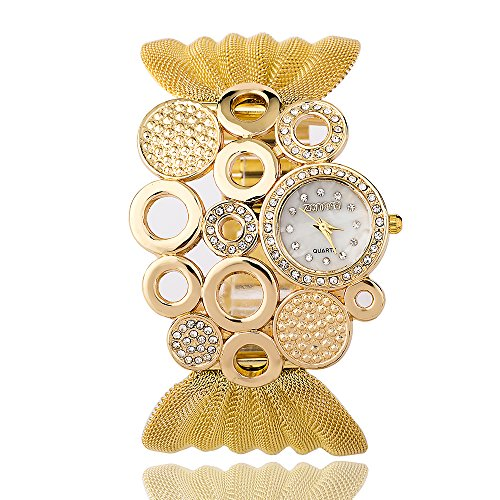 ZONMFEI Bling Designer Gold Bangle Bracelet Jewelry Watch Crystal Accented Quartz Wrist Watch (Digital Cuff Watch)