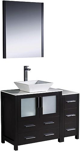 Fresca Bath FVN62-3012ES-VSL Torino 42 Vanity with Side Cabinet and Vessel Sink, Espresso