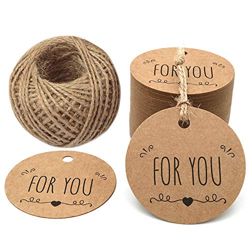Vintage Valentine Tags - Valentine Tags,100PCS for You Tag Kraft Paper Gift Tag,Price Tag with 100 Feet String for Craft Projects and Wedding Party Favors