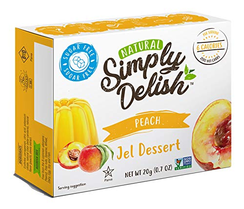 Simply Delish Natural Peach Jel Dessert - Sugar Free, Non GMO, Gluten Free, Fat Free, Vegan, Keto Friendly - 0.7 OZ (Pack of 3)