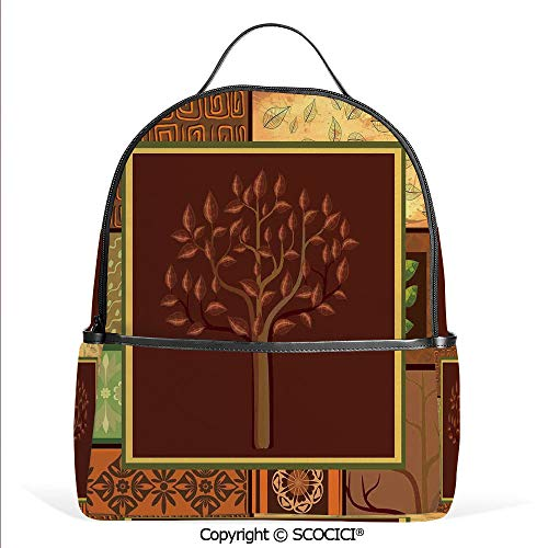 Lightweight Chic Bookbag Tree Figure on African Tribal Motifs Leaf Floral Ornaments Native Folk Patterns,Brown Green,Satchel Travel Bag Daypack (Pottery Days Of Christmas 12 Ornaments Barn)