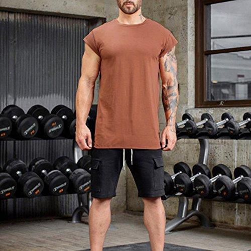 Blouse Slim Amlaiworld Courte Bodybuilding Débardeur Top Hommes Crossfit Manche shirt Muscle Confortable Gyms Orange T RUUaYZ