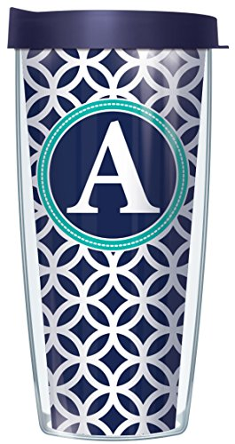 Initial Tumbler - A Initial on Navy Roundabout Traveler 16 Oz Tumbler Cup with Lid